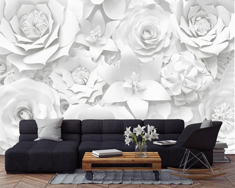 Fototapeta Białe Kwiaty 3D