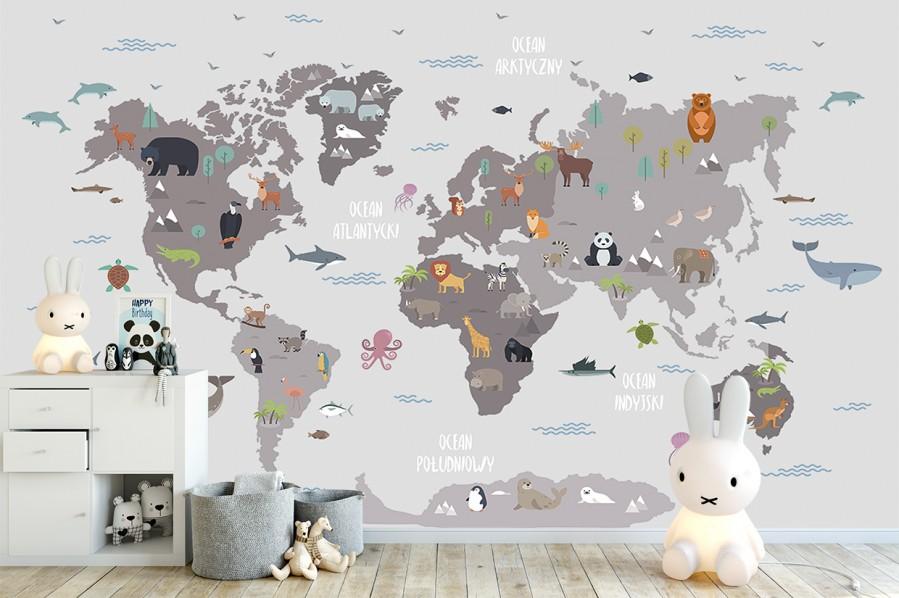 Fototapeta Mapa ze zwierzątkami